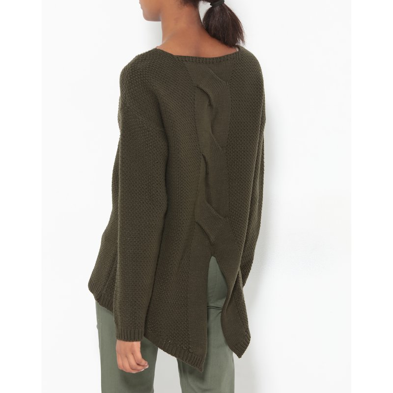Jersey manga larga con trenza en la espalda