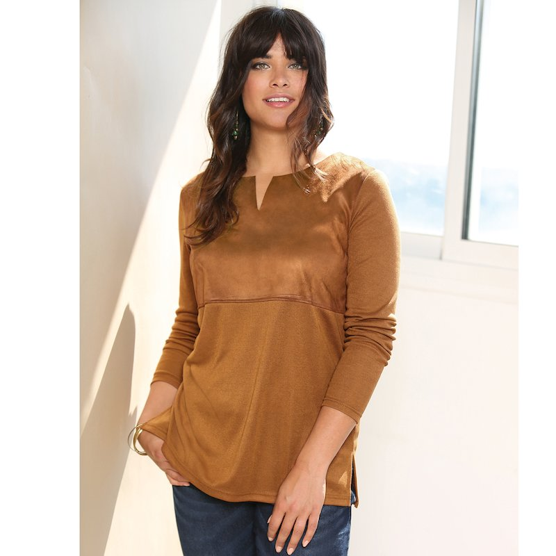 Jersey manga larga punto tricot y símil piel