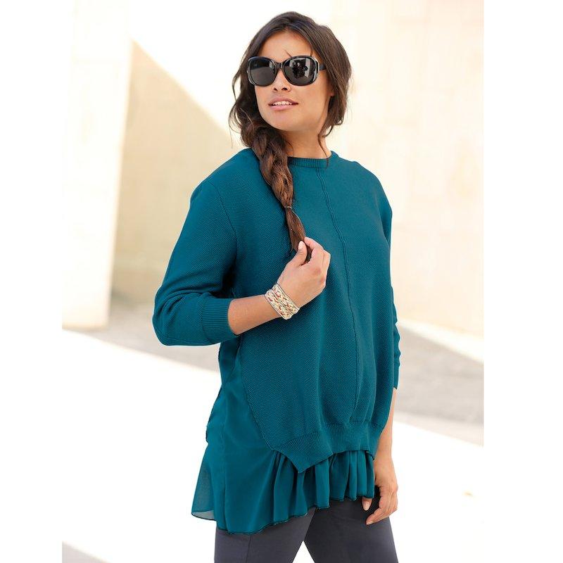 Jersey de algodón mujer en crepe georgette - Azul