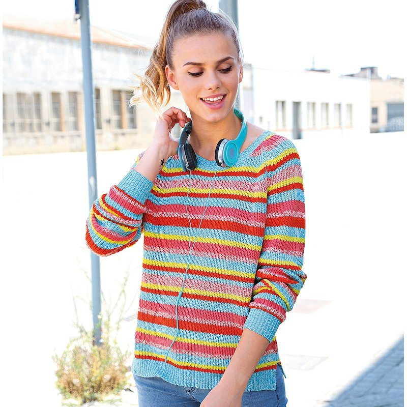 Jersey mujer canalé a rayas multicolores