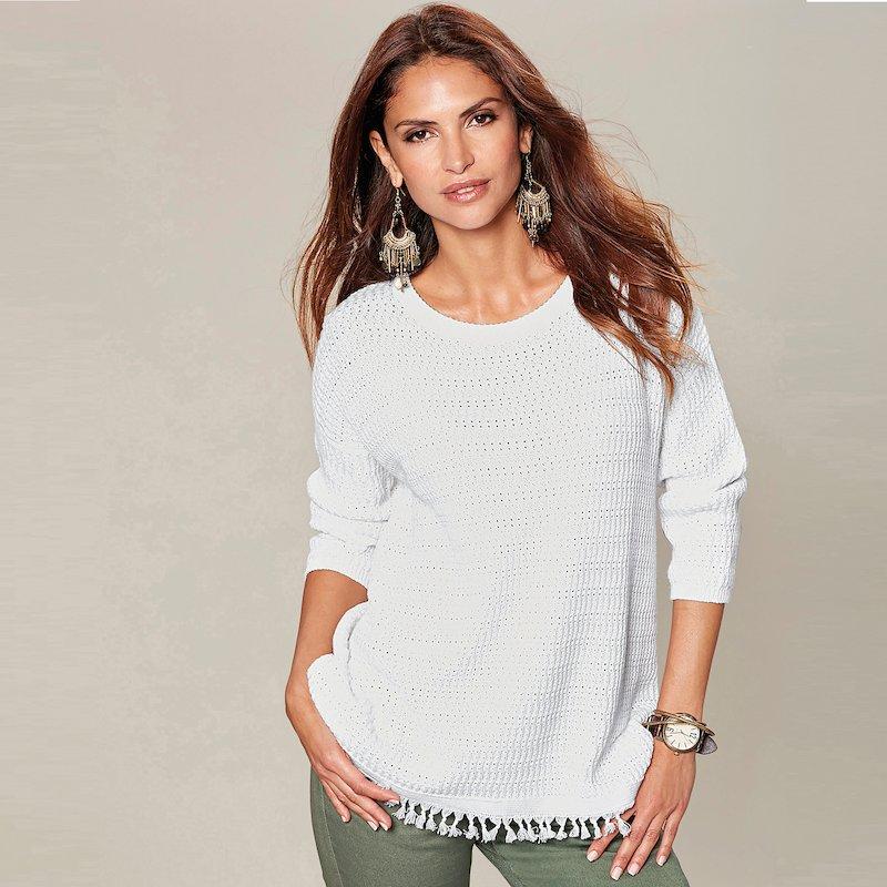 Jersey manga 3/4 mujer tricot con flecos - Blanco