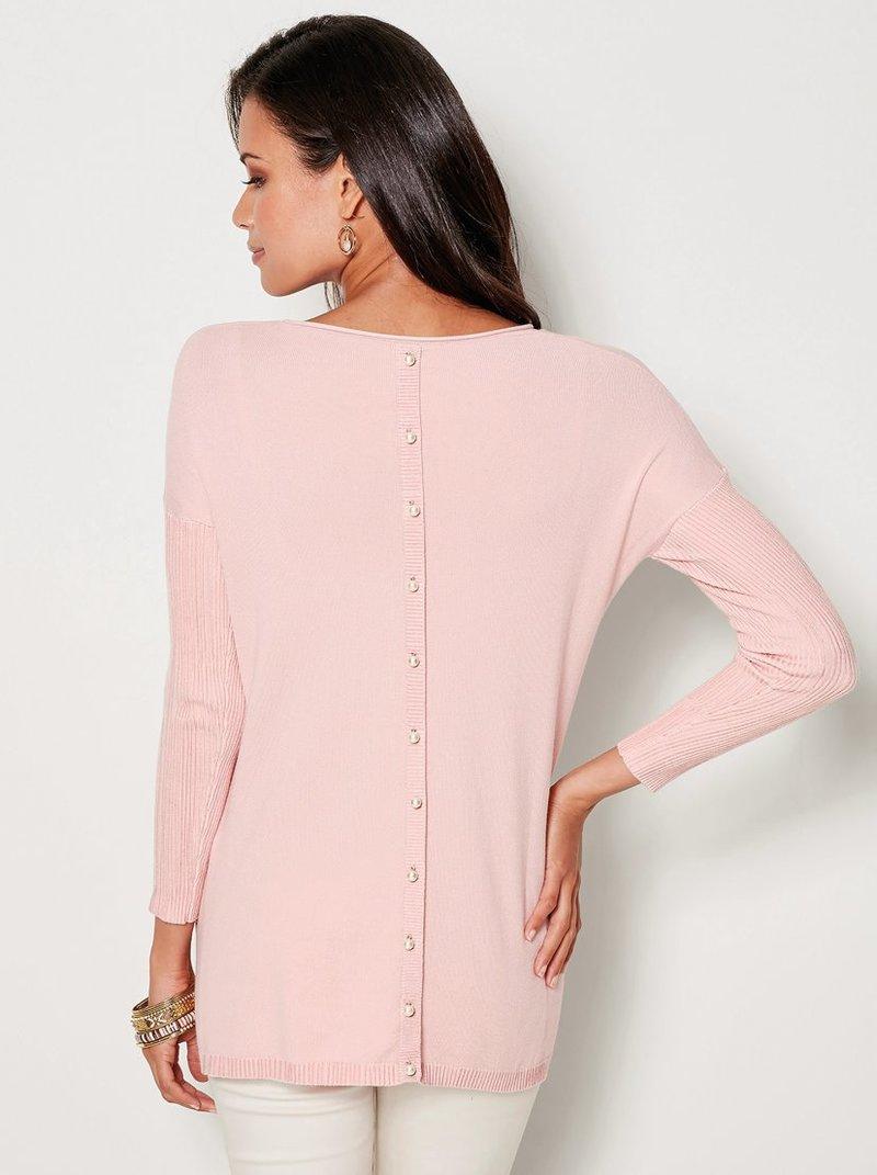 Jersey de mujer con tapeta de botones perla