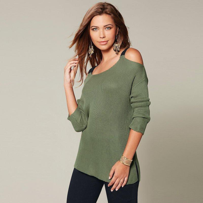 Jersey mujer manga 3/4 con aberturas tacto algodón - Verde