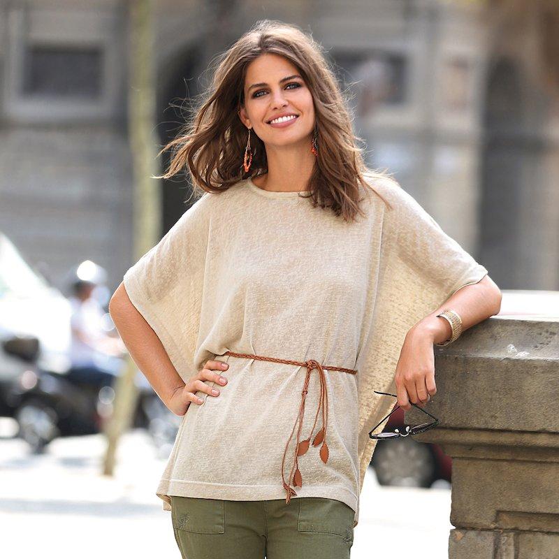 Jersey mujer manga 3/4 tricot slub con cinturón