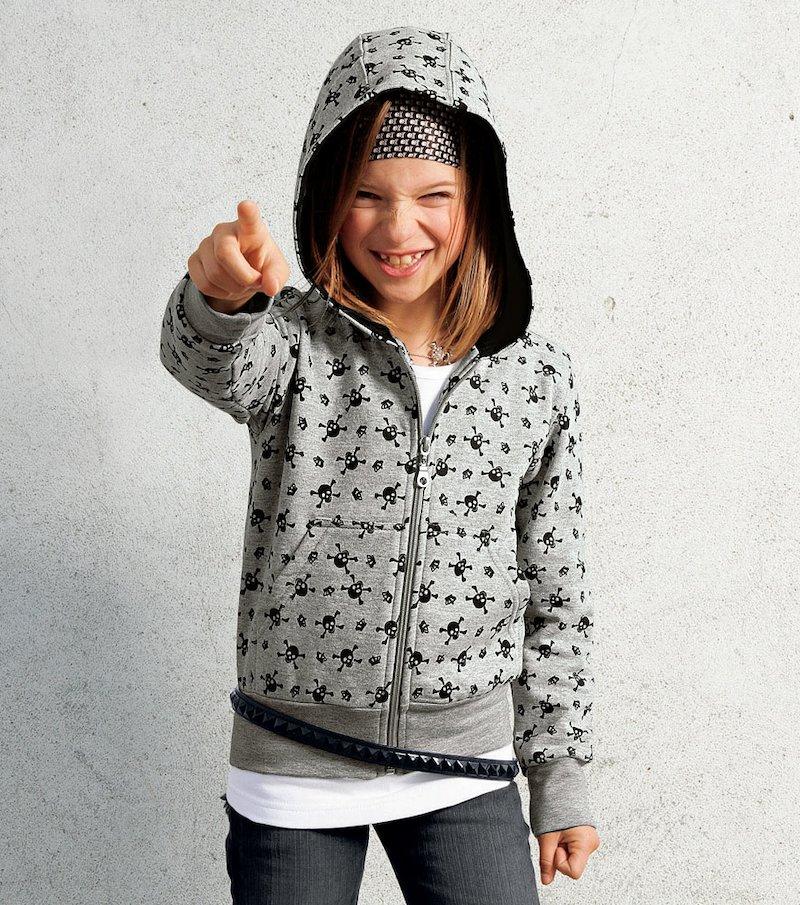 Chaqueta de niña estampada con capucha