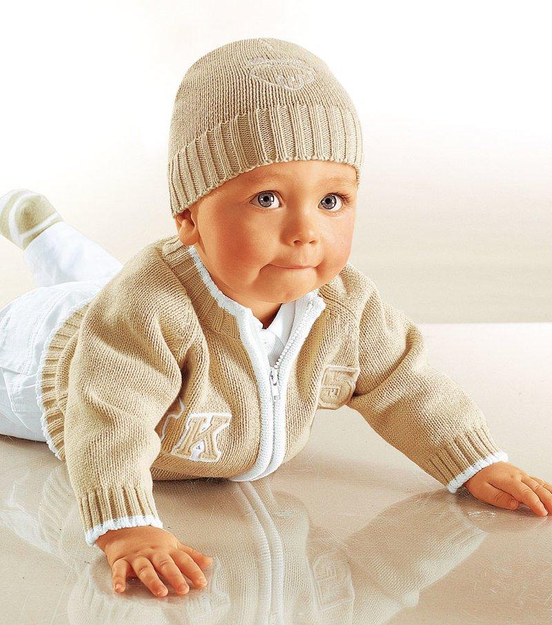 Chaqueta de punto bebé bordada 100% algodón