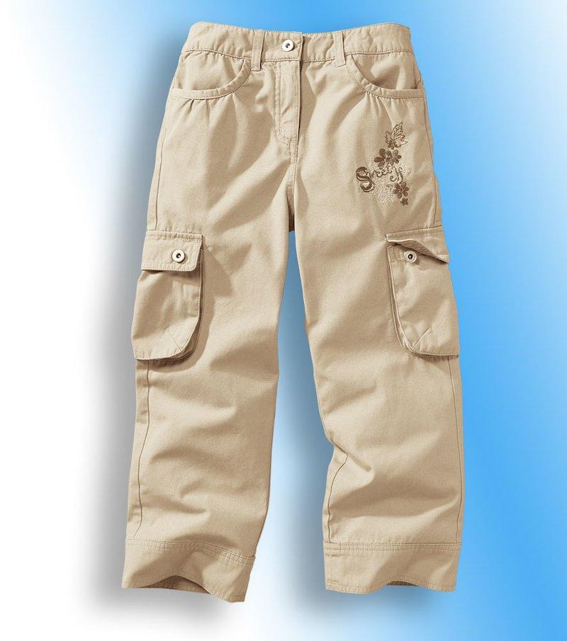 Pantalón niña multibolsillos 100% algodón - Beige