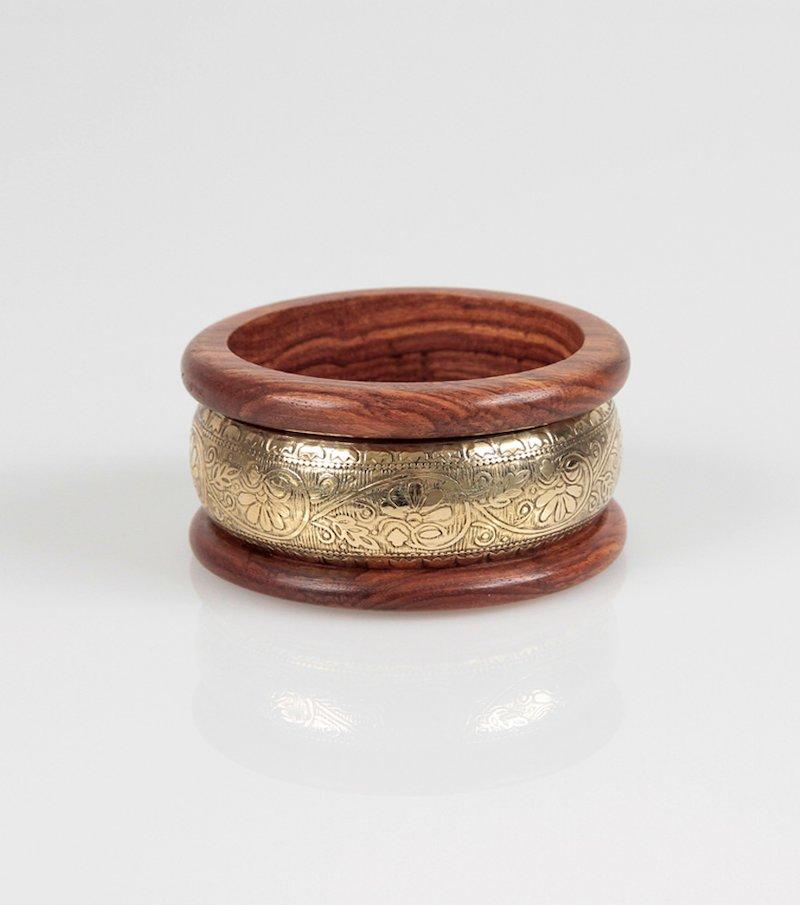 Pulsera ancha brazalete madera y metal