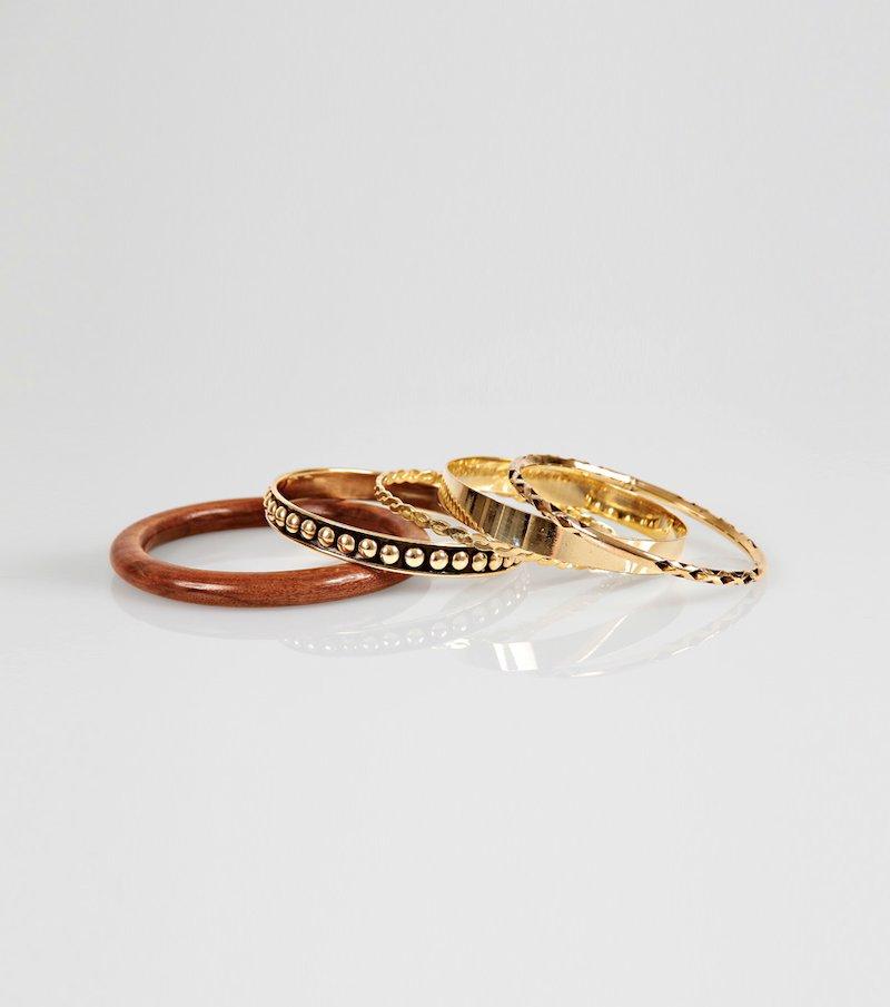 Set 5 pulseras mujer metal y madera