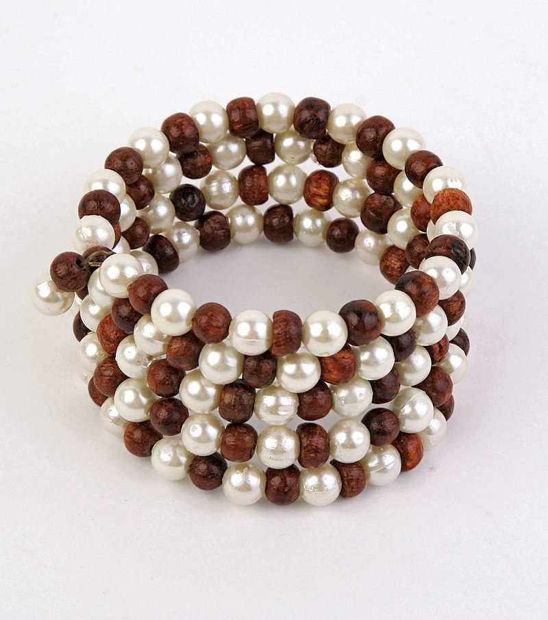 Pulsera mujer perlas y madera