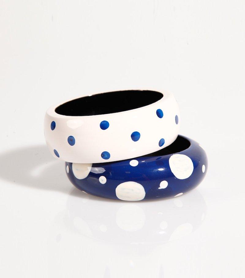 Set 2 pulseras rígidas mujer topos