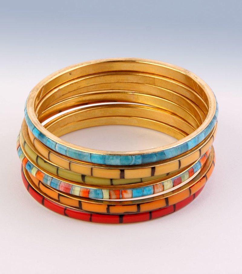 Lote 6 pulseras metálicas multicolores