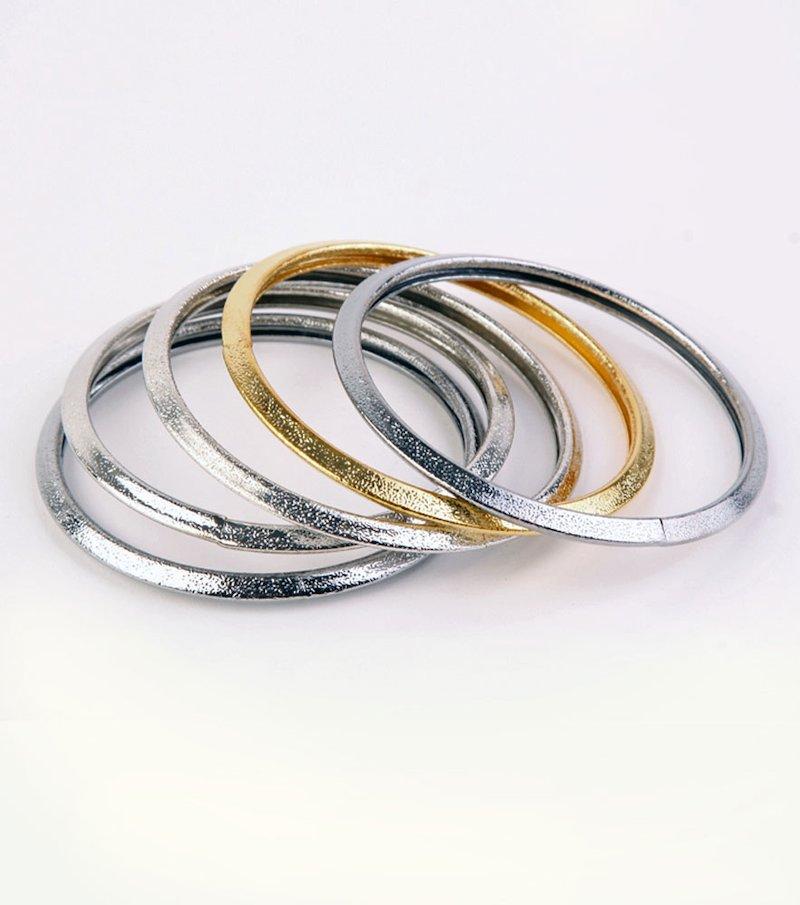 Set 5 pulseras mujer metálicas brillantes