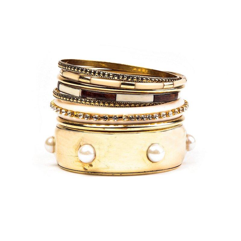 Set 8 pulseras mujer metal dorado con pedrería