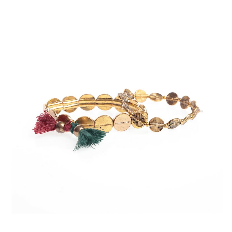 Set 2 pulseras elásticas con borlas y abalorios