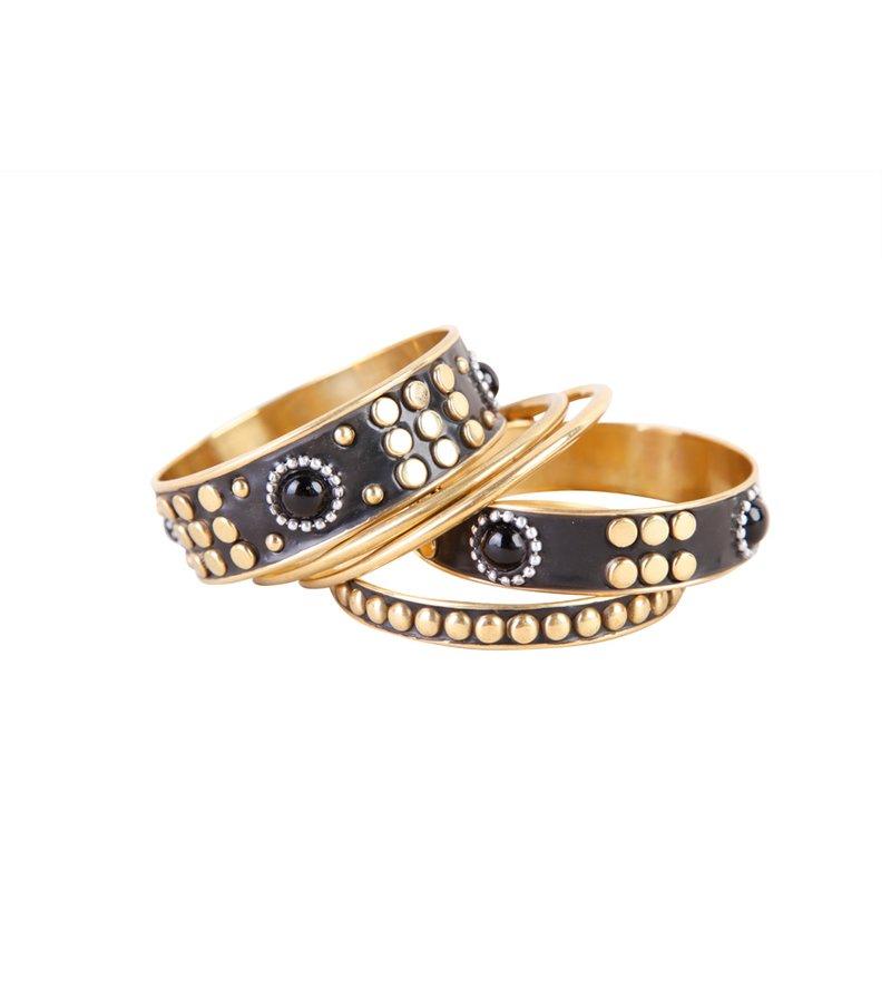 Lote de 5 pulseras mujer metálicas negro y dorado