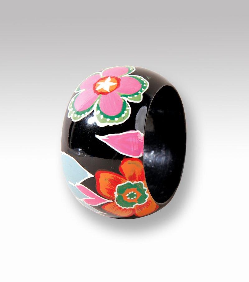 Pulsera brazalete mujer de madera flores