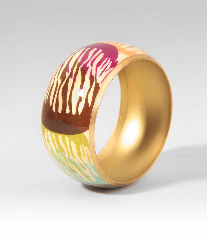 Pulsera brazalete ancho mujer metálico multicolor