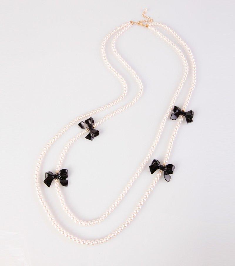 Collar largo mujer perlas con lazos