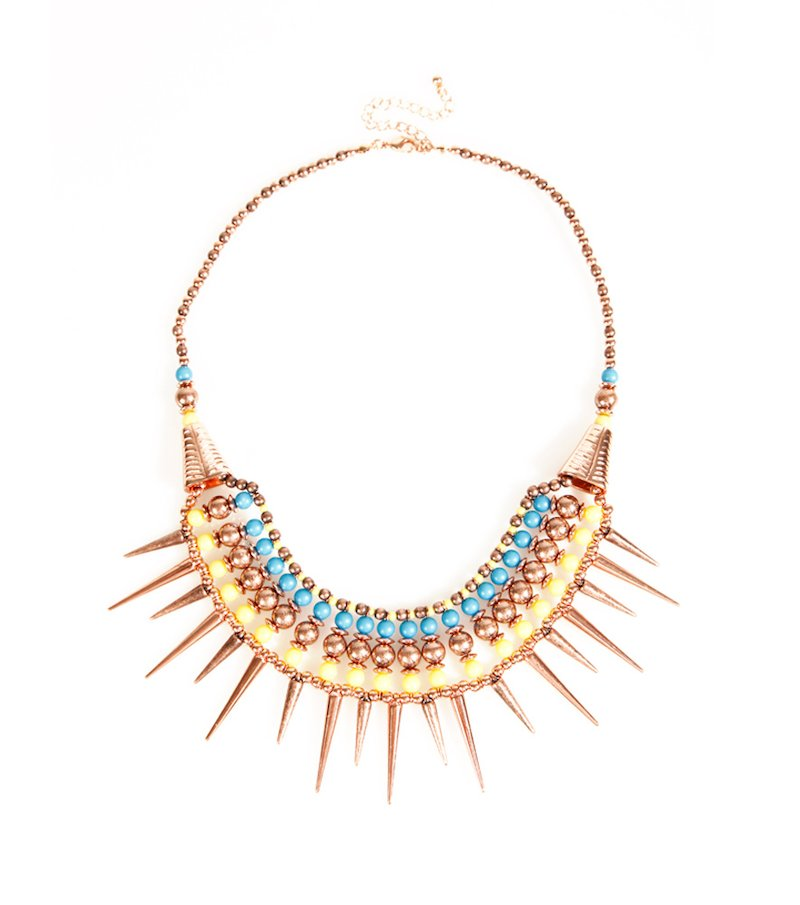 Collar gargantilla mujer abalorios multicolores étnico