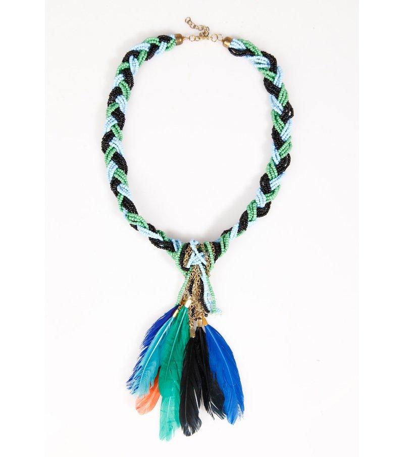 Collar mujer de cordón con plumas y abalorios