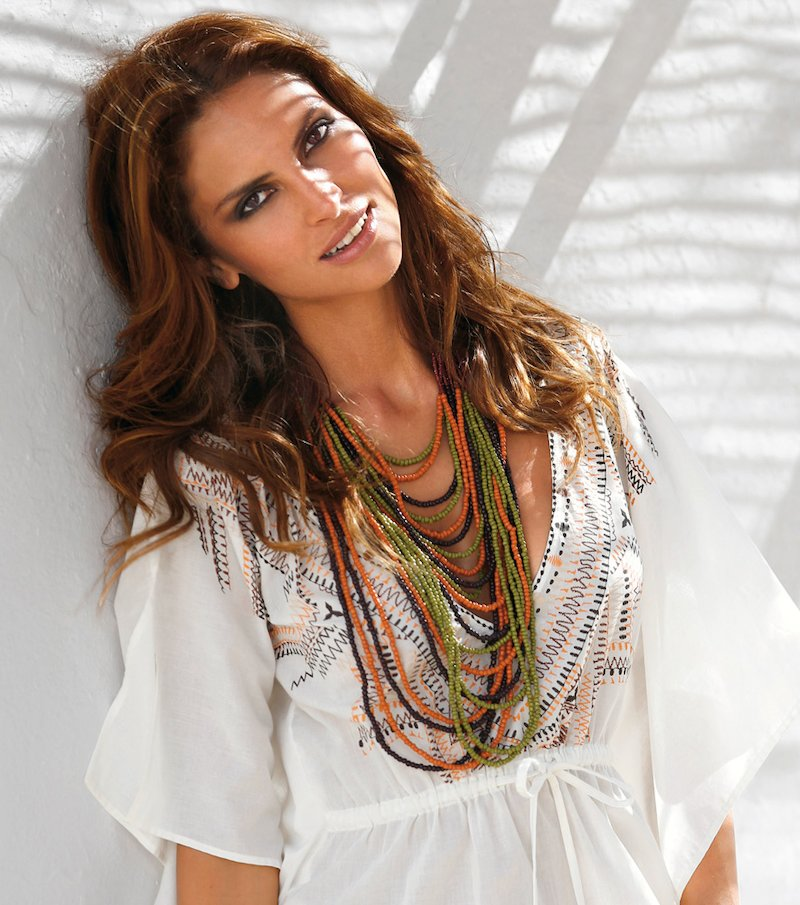Collar mujer abalorios multicolor