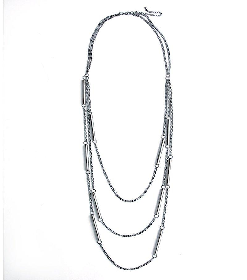Collar largo de fantasía con cadenas