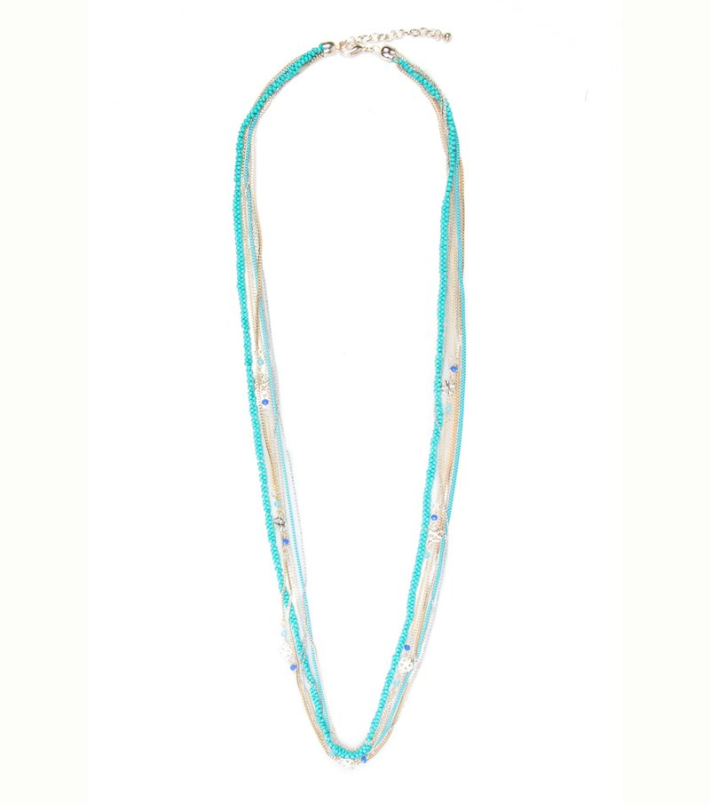 Collar largo de 7 cadenas azul dorado