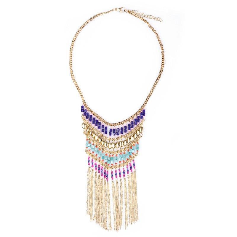 Collar étnico con cadenas y abalorios multicolor