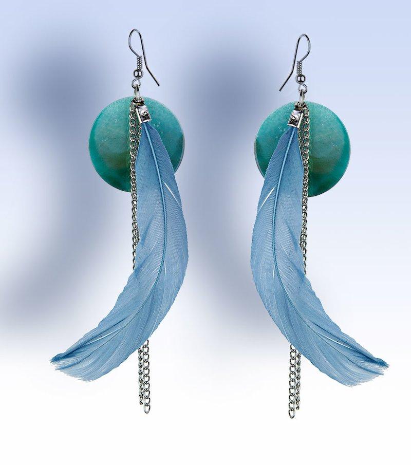 Pendientes largos mujer de plumas