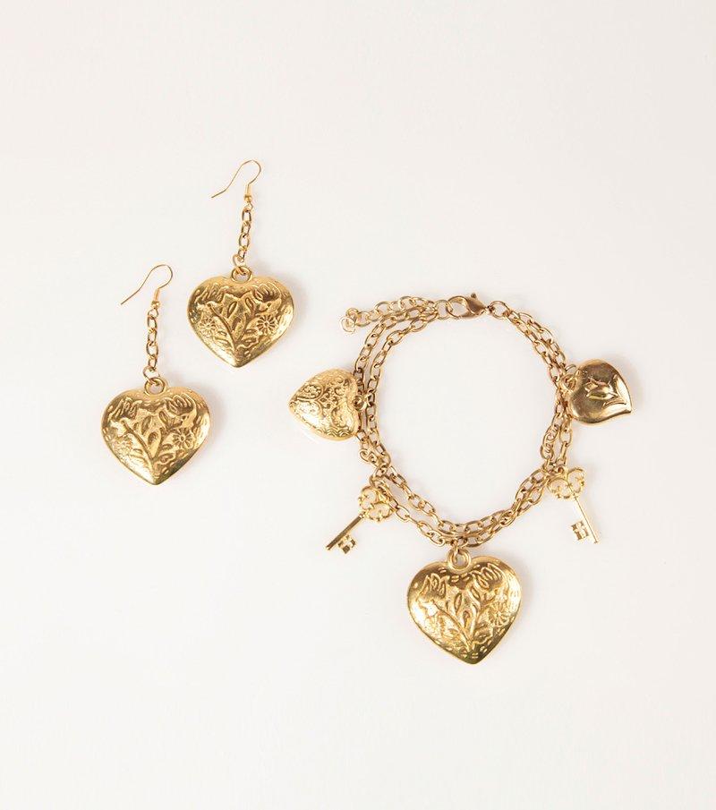 Conjunto de pulsera y pendientes mujer metal