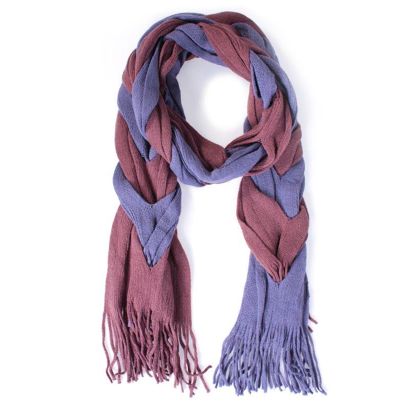 Foulard bicolor trenzado lila marrón