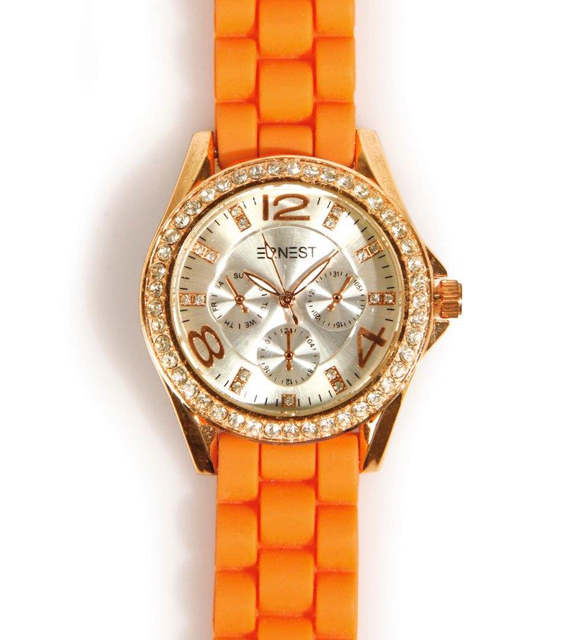 Reloj analógico mujer con correa caucho esfera dorada