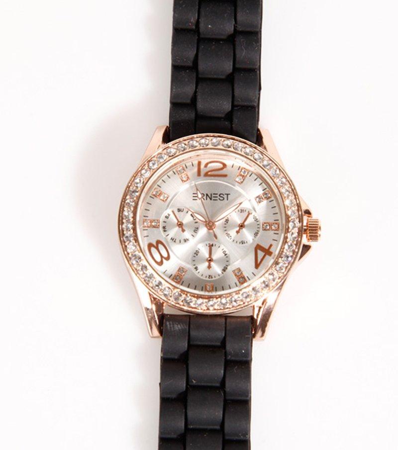 Reloj de pulsera mujer correa caucho con strass