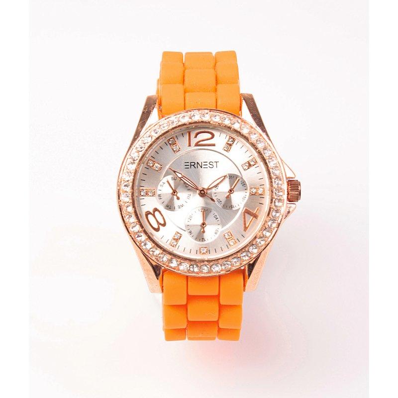 Reloj analógico mujer con correa caucho naranja