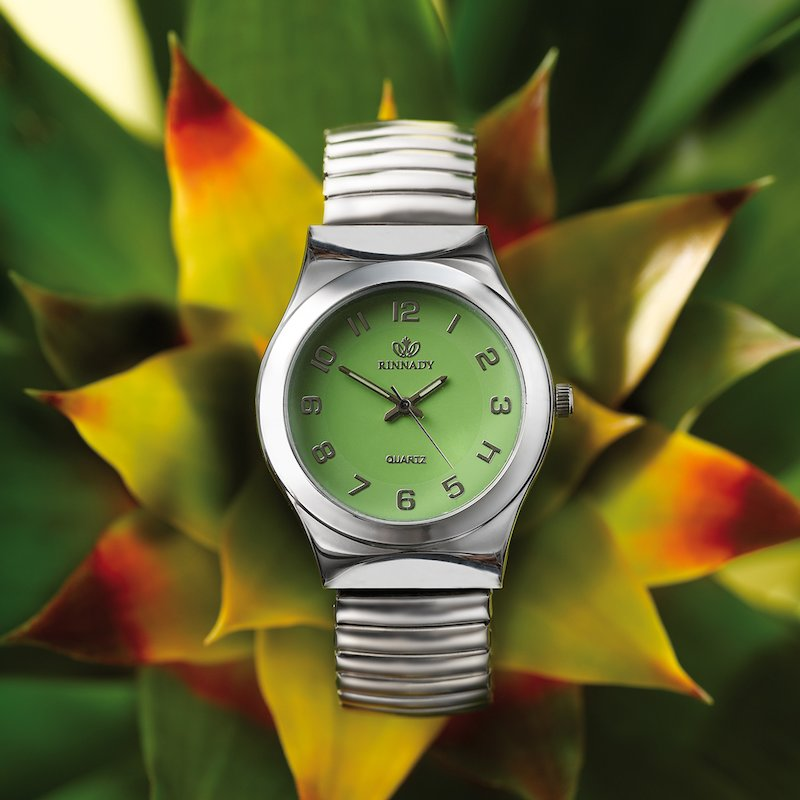 Reloj analógico mujer esfera verde correa elástica