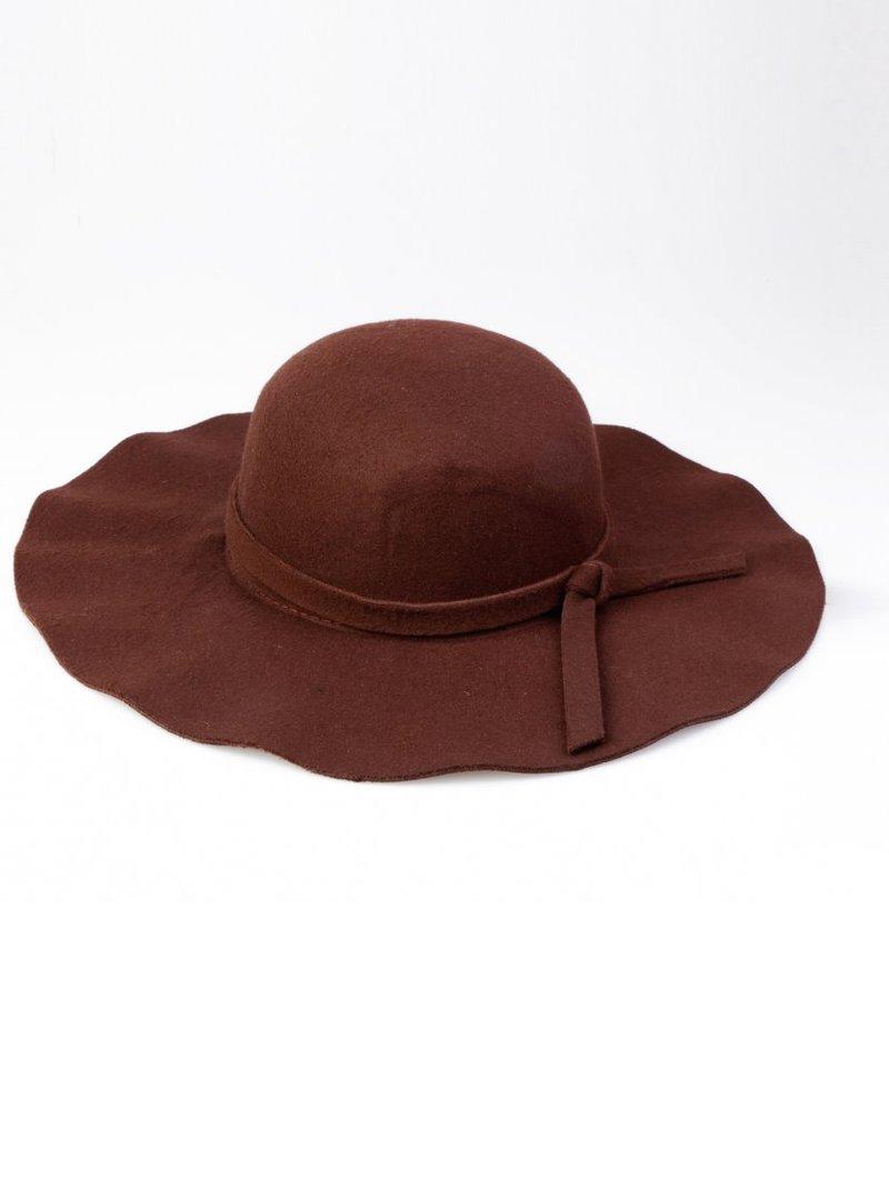 Sombrero ala ancha pamela mujer de fieltro marrón