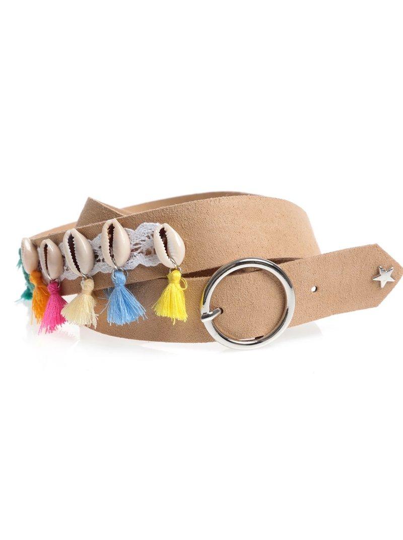 Cinturón con ganchillo conchas y borlas