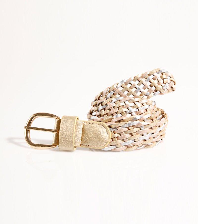 Cinturón mujer trenzado metalizado