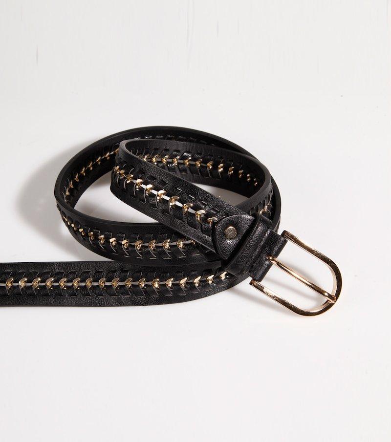 Cinturón mujer en combinación símil piel y metálico