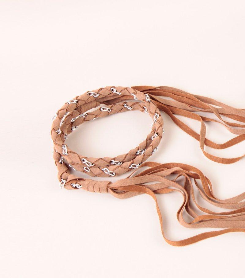 Cinturón mujer trenzado con flecos