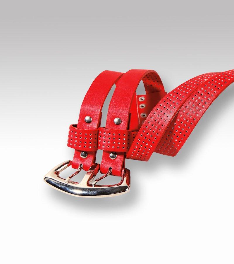 Cinturón doble mujer símil piel troquelado