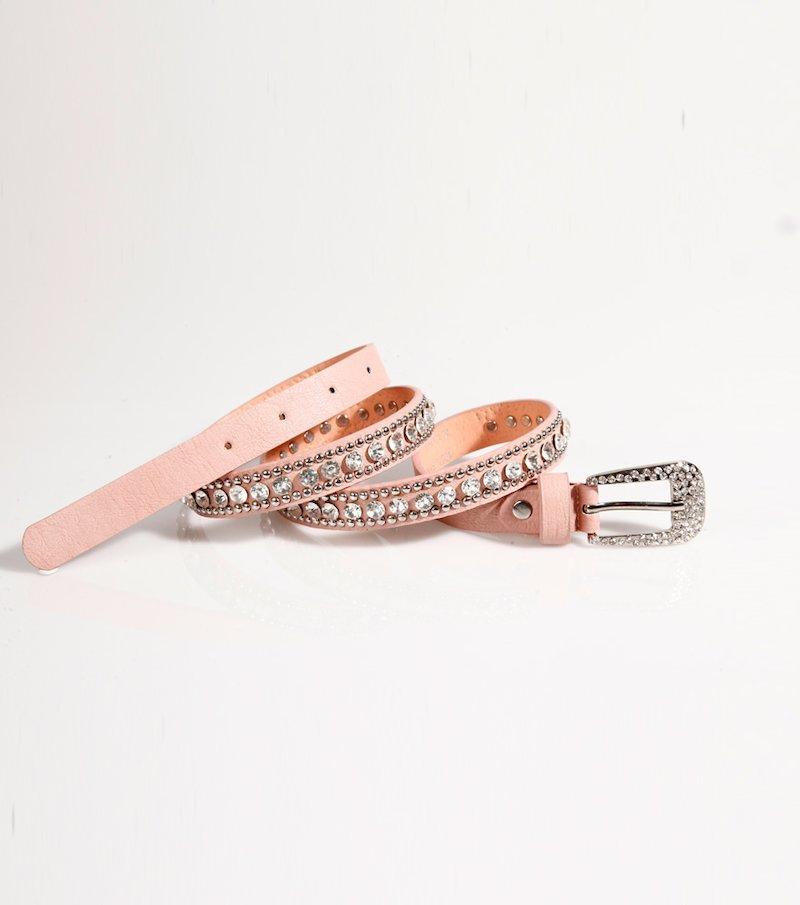 Cinturón mujer rosa en símil piel con strass