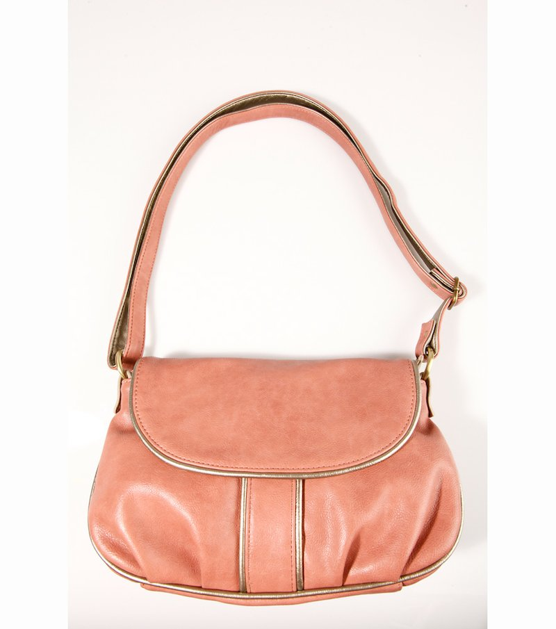 Bolso mujer rosa con vivos metalizados