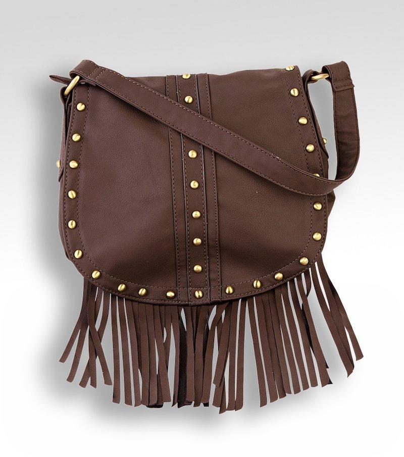 Bolso mujer de flecos con tachuelas - Marrón