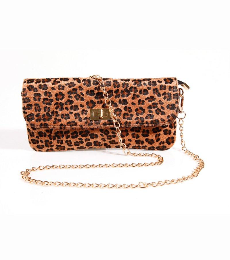 Bolso cartera mujer leopardo con cadena