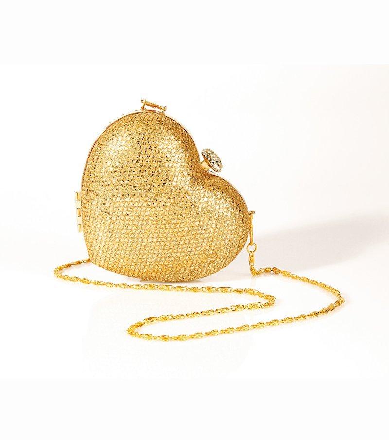 Bolso rígido de fiesta mujer corazón dorado