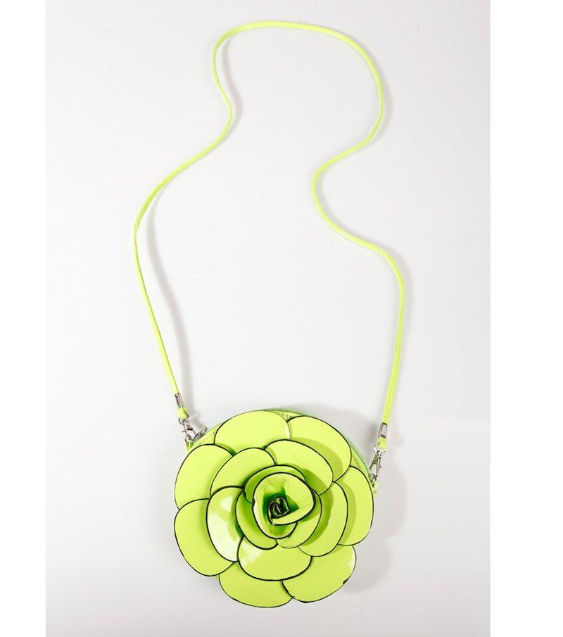 Bolso blando mujer acharolado flor verde flúor