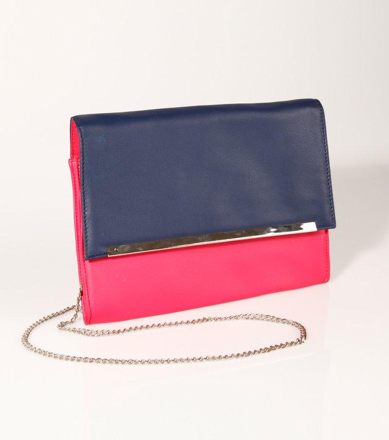 Bolso cartera mujer bicolor símil piel