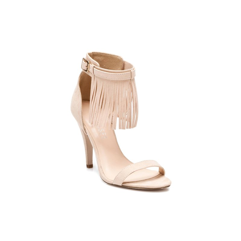 Sandalias tacón flecos amovibles mujer